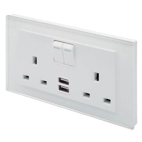 RetroTouch Double Switched 13A Plug Socket 2.1A USB White Glass PG 00662